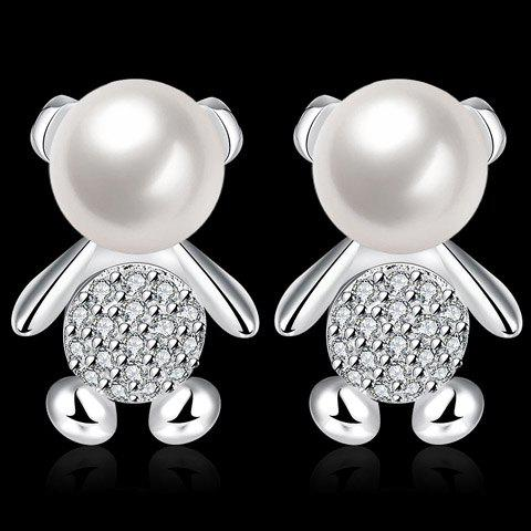 Outfit Pair of Cute Faux Pearl Rhinestone Bear Earrings For Women