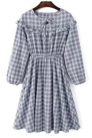 Discount Sweet Jewel Neck Long Sleeves Checkered Flare Dress For Women