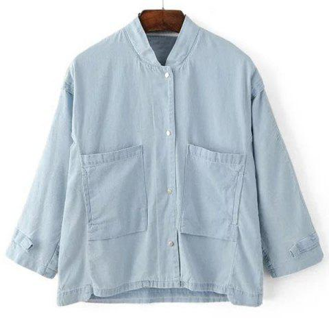 Unique Stand Collar 3/4 Sleeves Jean Jacket LIGHT BLUE S