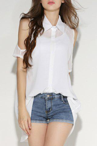 Affordable Cold Shoulder Chiffon Shirt with Tank Top WHITE M