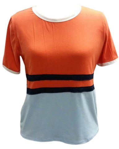 Latest Fashionable Round Neck Short Sleeve Color Block Tee For Women