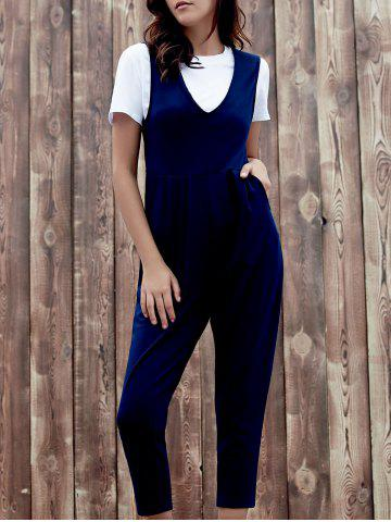 Shop Chic Plunging Neck Sleeveless Pocket Design Solid Color Women's Jumpsuit DEEP BLUE S