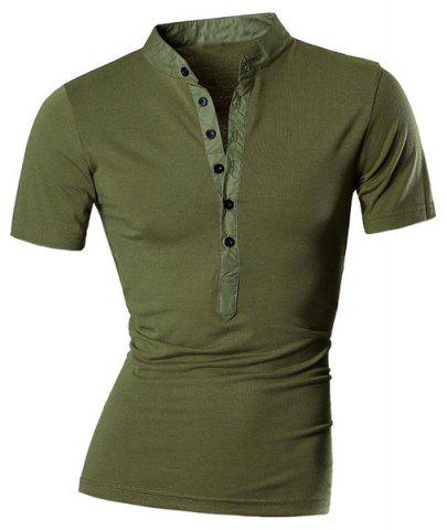 Unique Stand Collar Spliced Design Buttons Short Sleeve T-Shirt For Men