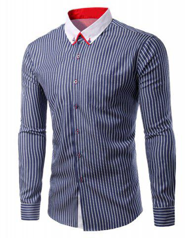 Store Turn-Down Collar Vertical Stripe Long Sleeve Shirt For Men CADETBLUE M
