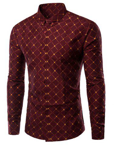 Unique Turn-Down Collar Argyle Pattern Long Sleeve Shirt For Men