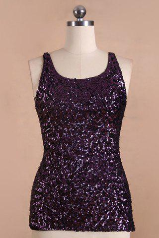 Latest Slimming U-Neck Sleeveless Sequin Patchwork Women's Tank Top