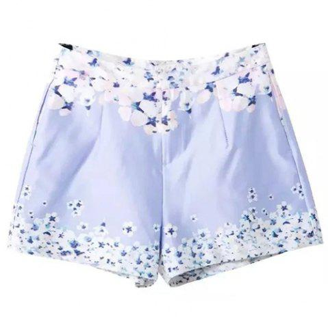 Chic Sweet Zipper Fly Floral Print Bodycon Women's Shorts