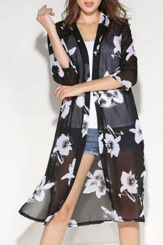 Chic Fashionable Floral Print 3/4 Sleeve Slit Blouse For Women