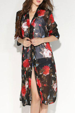 Cheap Fashionable Collarless Floral Print 3/4 Sleeve Slit Blouse For Women
