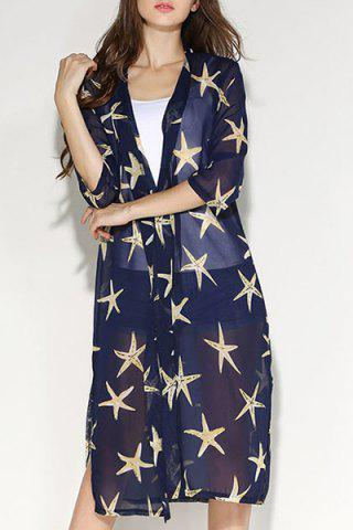 Discount Fashionable Collarless Star Print 3/4 Sleeve Slit Blouse For Women