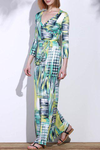 Buy Graceful Plunging Neck 3/4 Sleeve Geometric Printed Maxi Dress For Women COLORMIX M