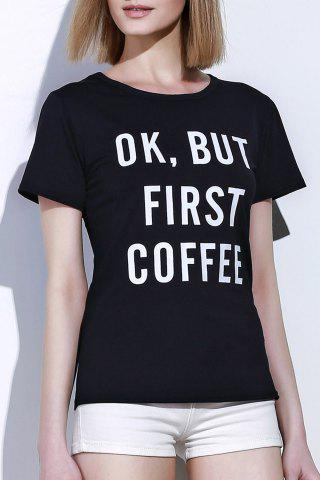 Store Casual Round Collar Letter Print Short Sleeve T-Shirt For Women