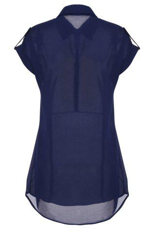 Discount Women's Cap Sleeve Stretch Chiffon Open Loop Shirt Mini Dress - L CADETBLUE Mobile