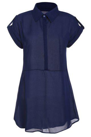 Chic Women's Cap Sleeve Stretch Chiffon Open Loop Shirt Mini Dress - L CADETBLUE Mobile