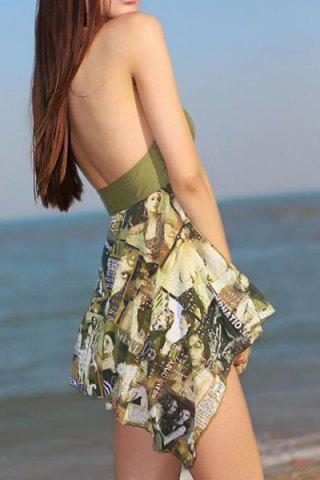 New Fashionable Halter Figure Print Asymmetrical Two-Piece Swimsuit For Women - L ARMY GREEN Mobile