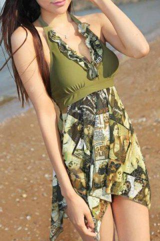 Discount Fashionable Halter Figure Print Asymmetrical Two-Piece Swimsuit For Women ARMY GREEN L