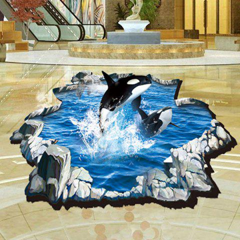 Outfit Fashion 3D Whale Pattern Wall Sticker For Bathroom Livingroom Floor Decoration