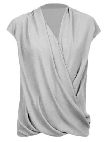 Trendy Fashionable Plunging Neck Cap Sleeve Wrap Top For Women