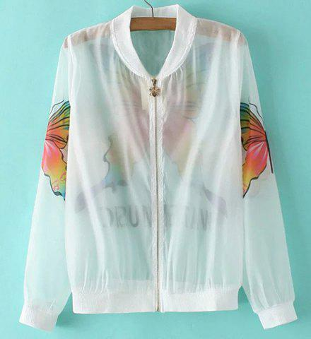 Best Fashionable Stand Collar Long Sleeve Butterfly Print See-Through Jacket For Women