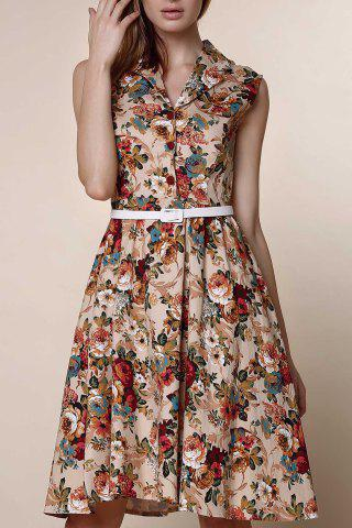 Store Retro Style Turn-Down Collar Sleeveless Ball Gown Floral Print Dress For Women