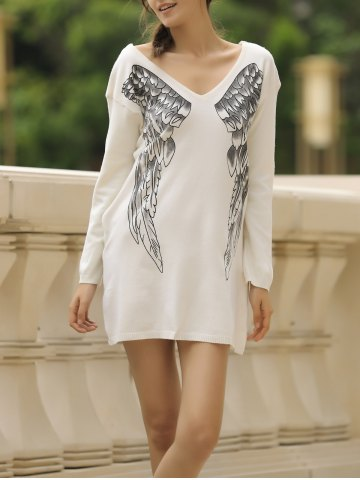 Store Stylish V-Neck Long Sleeve Wing Pattern Loose-Fitting Women's Sweater OFF-WHITE S