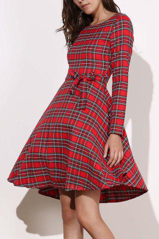 Unique Vintage Long Sleeve Plaid Self-Tie 1940S Swing Dress RED L
