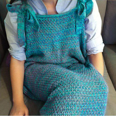 Sale Exquisite Comfortable Drawstring Style Knitted Mermaid Design Throw Blanket - LAKE BLUE  Mobile