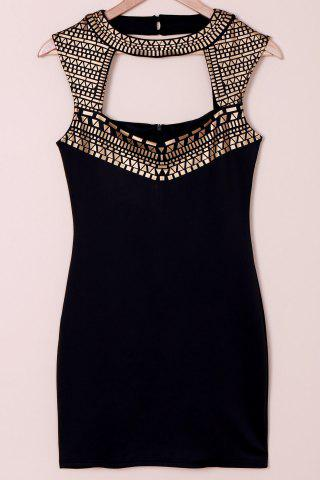 Cheap Cut Out Bodycon Club Dress BLACK AND GOLDEN M