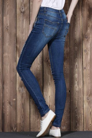 New High Waisted Ripped Skinny Jeans - M BLUE Mobile