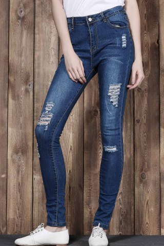 Outfits High Waisted Ripped Skinny Jeans - M BLUE Mobile