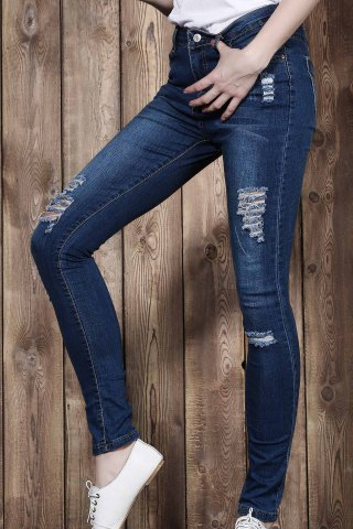 Fashion High Waisted Ripped Skinny Jeans - M BLUE Mobile
