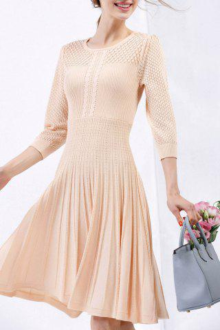 Fancy Cable Knit Knee Length Sweater Dress APRICOT S