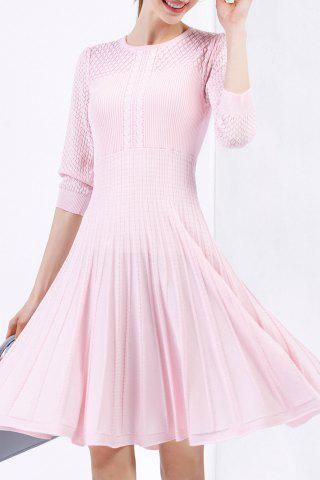 Cable Knit Knee Length Sweater Dress - Pink - L