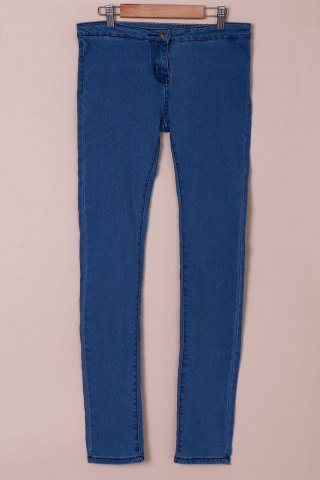Unique Fashionable Solid Color Skinny High-Waisted Jeans For Women AZURE M