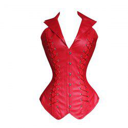 Stylish V-Neck Halter Solid Color Lace-Up Corset For Women