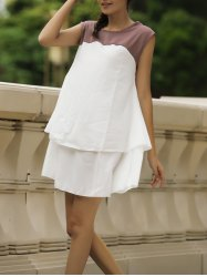 Sweet Jewel Neck Color Block Sleeveless Women's Dress - WHITE