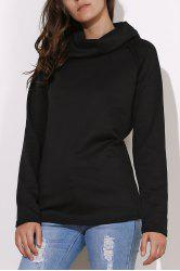 Stylish Turtleneck Long Sleeve Solid Color Women's Sweatshirt - BLACK