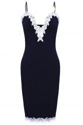 Sexy Spaghetti Strap Ruffled Lace Spliced Bodycon Dress For Women -