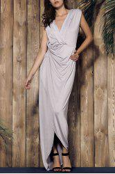 Asymmetrical Ruffled Plunging Neck Carpet Maxi Formal Dress