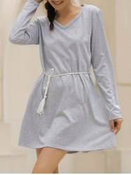 Casual V-Neck Long Sleeve Loose-Fitting Solid Color Dress For Women - GRAY