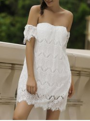 Sexy Off-The-Shoulder Short Sleeve Solid Color Lace Women's Dress - WHITE