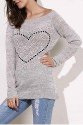Boat Neck Rhinestone Knit Sweater -