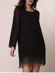 Lace Trim Long Sleeve Chiffon Shift Dress