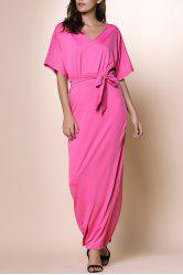 Alluring V-Neck Dolman Sleeve Self-Tie Maxi Dress For Women