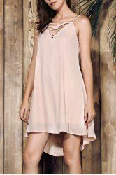Sweet Spaghetti Strap Dress For Women - APRICOT
