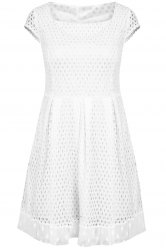 Chic Women's Short Sleeve Square Neck A-Line Dress -