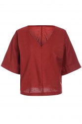 Brief Style V-Neck 1/2 Sleeve Loose-Fitting Solid Color Women's Blouse - BRICK RED S