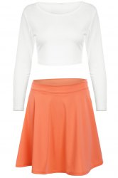 Street Style Scoop Neck Long Sleeve White Crop Top and Neon Coral Short Skirt Suit For Women -