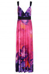 Alluring Plunging Neck Spaghetti Strap Floral Print Maxi Dress For Women -