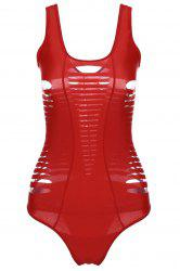 Sexy U-Neck Sleeveless Hollow Out One Piece Swimwear For Women - RED M
